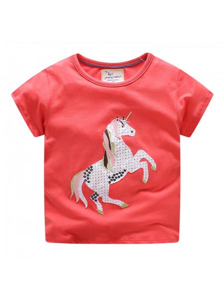 Футболка для девочек Jumping Meters JBF0647 horse